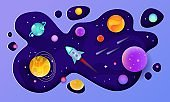 Space galaxy background - planets, spaceship or rocket flat vector illustration.