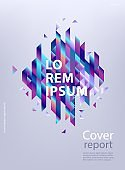 Modern business report cover or brochure template with abstract gradient geometric shapes.