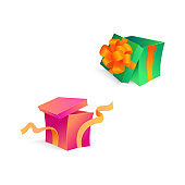 Vector cartoon open present gift box ribbon bow