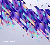 Modern gradient banner with abstract geometric shapes and stripes with fluid color on gray background.