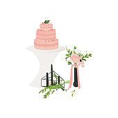 Vector wedding ceremony flat symbols icon set