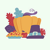 Happy thanksgiving day design element with autumn harvest with vegetables and fruits.