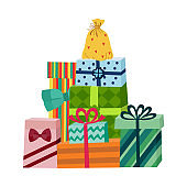Vector cartoon present gift box ribbon bow pile