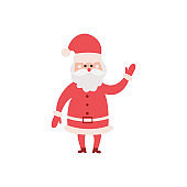 Christmas Santa Claus character in red costume flat vector illustration isolated.