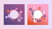 Gradient banners set - fluid color abstract geometric and bubble shapes on violet and red backgrounds.