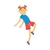 Vector girl teen kid dancing in hip hop