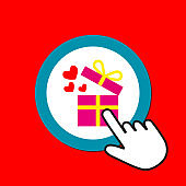Gift box with flying hearts icon. Romantic gift concept. Hand Mouse Cursor Clicks the Button.