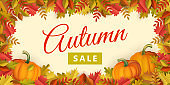 Vector autumn sale with leaves square frame