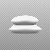 Two white soft pillow stack from sideways view