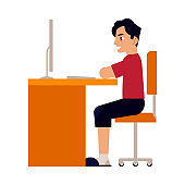 Vector online education man student