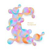 Gradient pastel coloring abstract geometric shapes and bubbles with copy space.