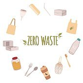 A frame of eco friendly objects around the text Zero waste in a flat style.