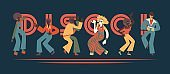 Vector illustration set of disco dancing people with retro clothes and hairstyles.