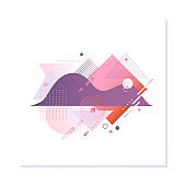 Gradient violet and red shapes isolated on white background for promotion banner or web header.