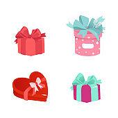 Vector cartoon present gift box ribbon bow set