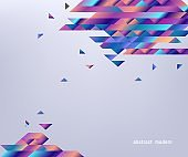 Modern banner with gradient bright colorful geometric shapes and stripes isolated on gray background.