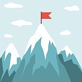 Gray, blue cartoon mountains and rocks with a red flag on peak, оn the background the sky with clouds.