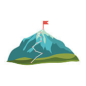 Grey, blue cartoon mountain and rock with green hills and red flag on peak.