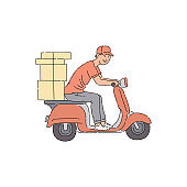 Delivery man riding scooter with boxes