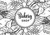 Bakery shop banner or cover with line hand drawn bread, long loaf and croissants.