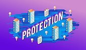 Protection isometric design of word with volumetric sign and business elements.