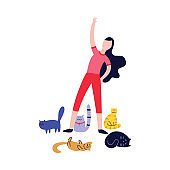 Woman doing exercises surrounded by many cats flat cartoon style