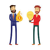 Financing new business idea concept with man holding light bulb and businessman with us dollars in bag.