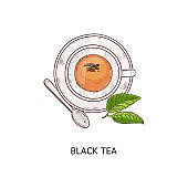 Cup of black tea icon vector illustration in sketch doodle style isolated.