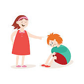 Girl the victim of bullying and her abuser flat vector illustration isolated.