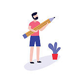 Young man holding big pencil for blogging, storytelling or copywriting concept.