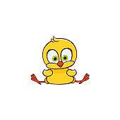 vector flat cute chicken chick sitting
