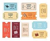 Set of retro cinema tickets cartoon or flat style