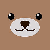 Cute bear face over brown background.