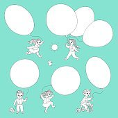 Vector flat monochrome kids with air balloons set