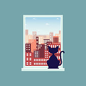 Landscape view of city skyline from the window with a cat flat vector illustration.