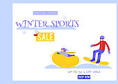 Winter sports vector illustration sale banner with young man snowboarding and child riding on snow tube.