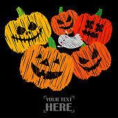 Happy Halloween Card! Pumpkins and Kawaii ghosts.