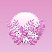 Floral vector illustration with white cherry or apple flowers on pink leaves on round shape badge.