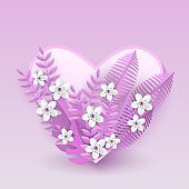 Floral vector illustration with white cherry or apple flowers on pink leaves on heart shaped badge.