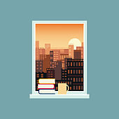 Landscape view from the window with books on the windowsill vector illustration.