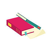 Pile of books with colorful hardcover and bookmarks lying on paper document page.