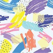 Seamless abstract pattern background with marker or watercolor, ink and pastel