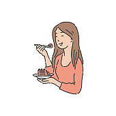 Smiling woman is holding plate and eating cake sketch style