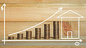 loan investment residential building house, real estate, property, mortgage concept. hands put coin stacking on wood table in green park background with chalk draw graph growth up. home sweet home.