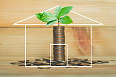 loan investment residential building house, real estate, property, mortgage concept. coin stacking withgreen leaves on wood table background with house on chalk draw. home sweet home.