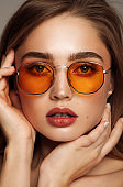 Portrait of young sexy woman wear sunglasses