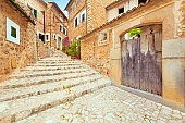 Fornalutx Majorca Spain old idyllic romantic town with stone steps