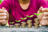 man put coins stack with green plant and keep save money on wood table in park. business budgeting financial banking saving and startup concept success increase interest growing investment.