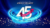 45 years anniversary logo template on dark blue Abstract futuristic space background. 45th modern technology design celebrating numbers with Hi-tech network digital technology concept design elements.