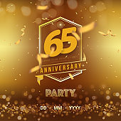 65 years anniversary logo template on gold background. 65th celebrating golden numbers with red ribbon vector and confetti isolated design elements